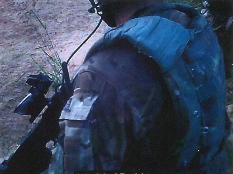 A still image from the helmet cam footage