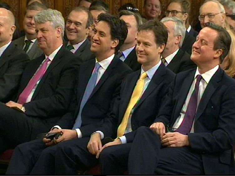 William Hague, Andrew Lansley, Ed Miliband, Nick Clegg and David Cameron (L-R)