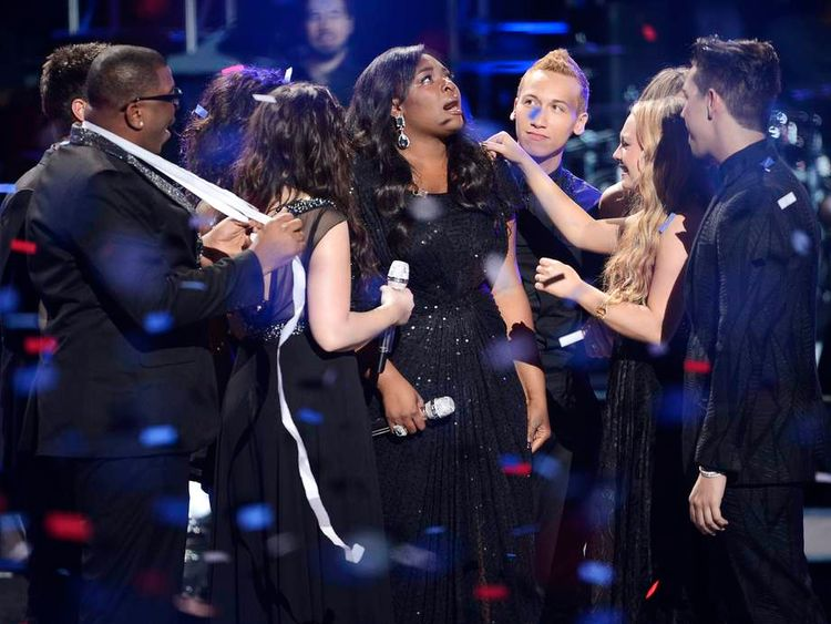 "Winning contestant Candice Glover is congratulated during the Season 12 finale of ""American Idol"" in Los Angeles"