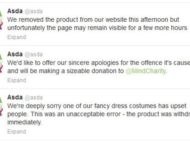 "Asda response to ""mental patient"" costume"