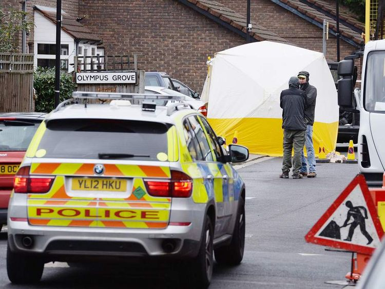 "Police Officers at the scene in Bracknell Close, Wood Green north London after a man died after being shot during an ""intelligence led"" police operation."
