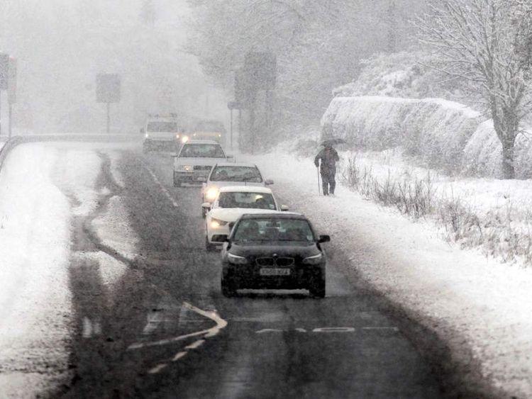 Heavy snowfall in Guisborough, north east England.
