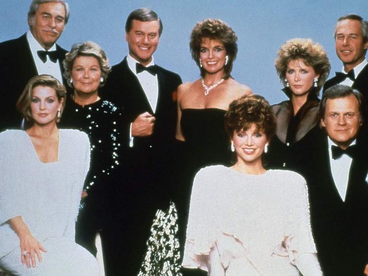 """Larry Hagman, center left, with fellow cast members of the television series """"Dallas."""""""