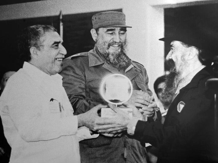 Gabriel Garcia Marquez with Cuban President Fidel Castro