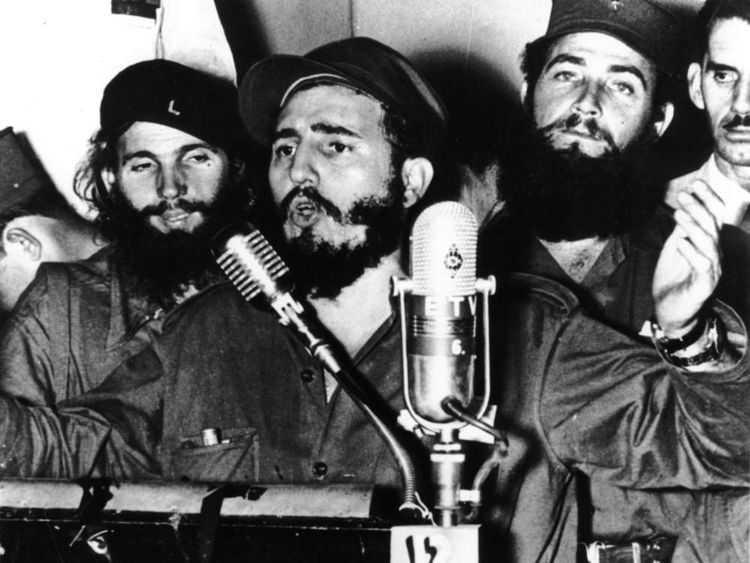 Cuban revolutionary Fidel Castro during an address in Cuba in 1959