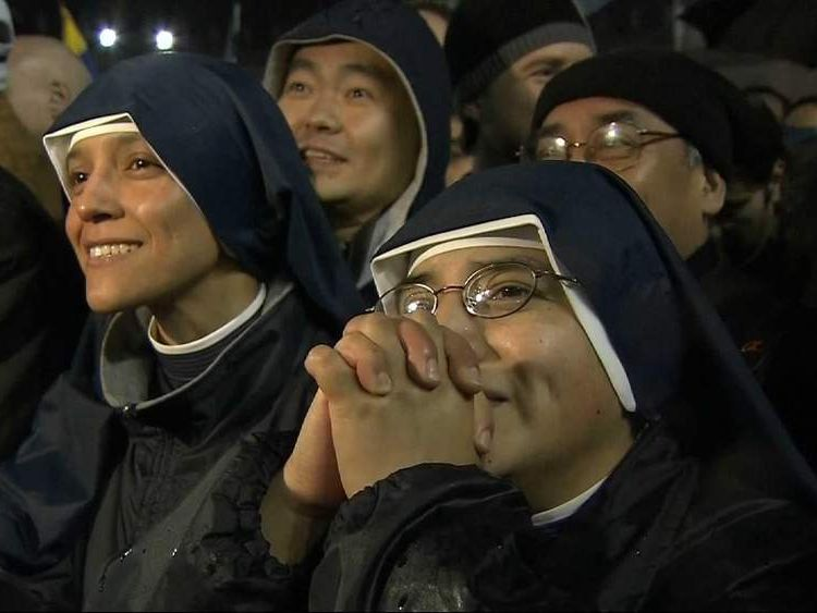 Nuns crying as new pope is elected