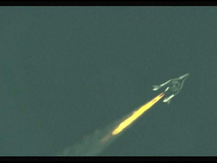 Virgin Galactic's passenger spacecraft, SpaceShipTwo, completed its first rocket-powered flight
