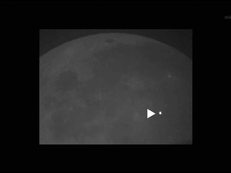 The explosion caused by the lunar meteorite strike can be clearly seen in this Nasa image