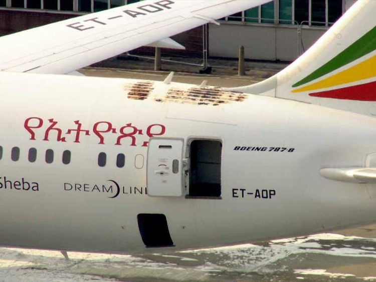 Damage to the Ethiopia Airlines Dreamliner.