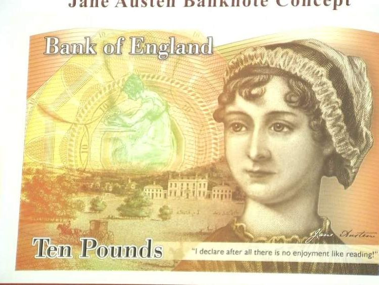 The concept for the new ten pound note showing Jane Austen