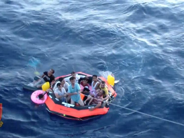 Migrants rescued from the Mediterranean