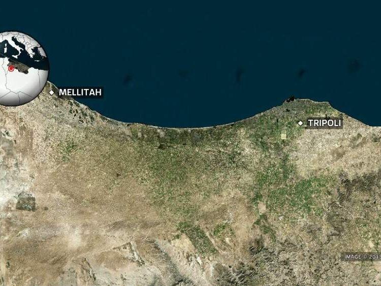 Melittah, Libya map