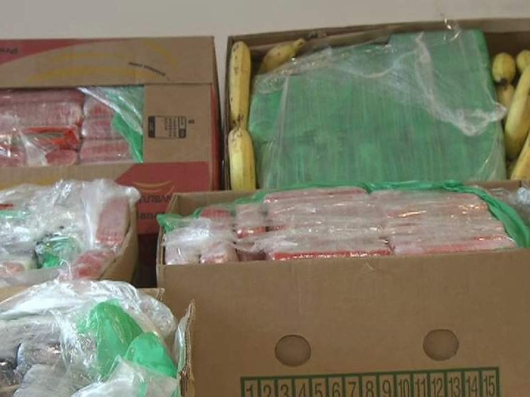 Packages of cocaine in amongst bananas