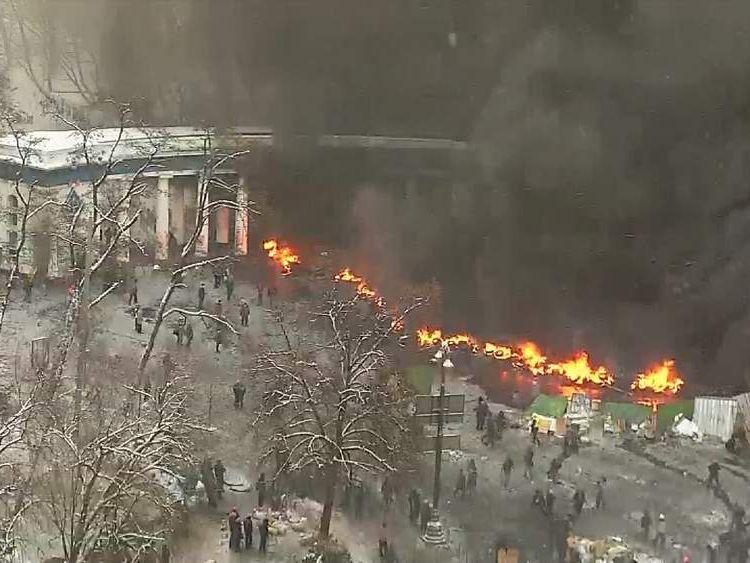 Burning barricades in Kiev