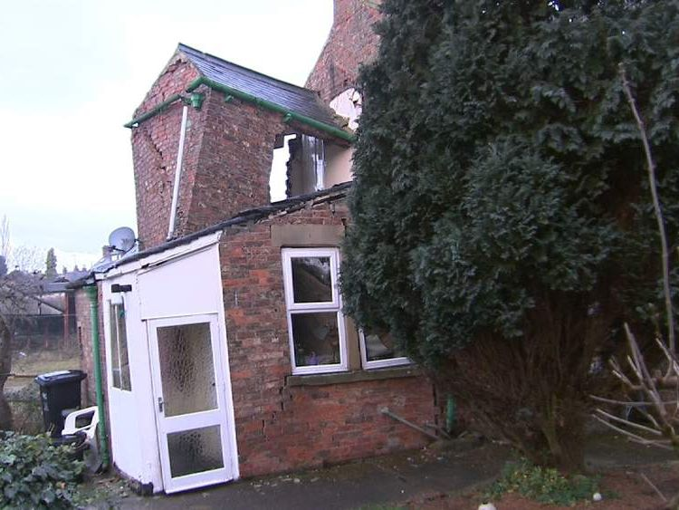 House falling into a sinkhole in Ripon, Yorkshire