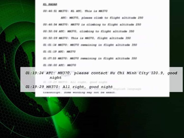 Transcripts of pilot conversations on missing Malaysia Airlines plane