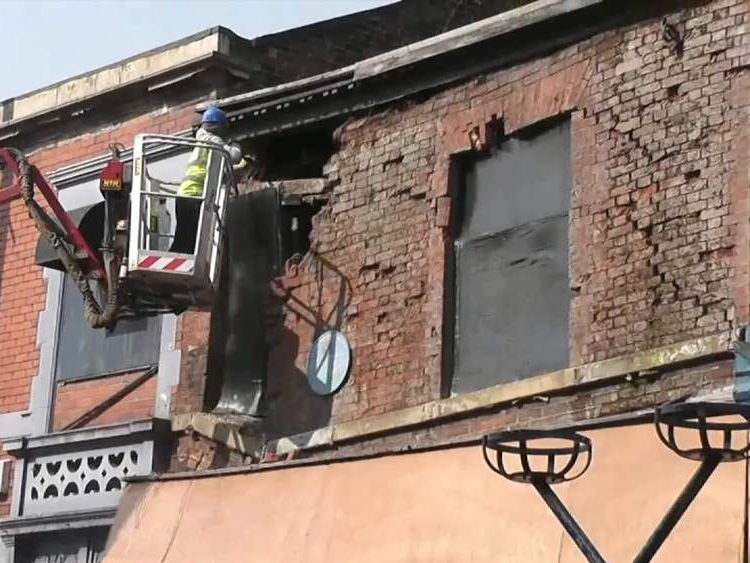 Front of building collapses in Ashton under Lyne, Greater Manchester