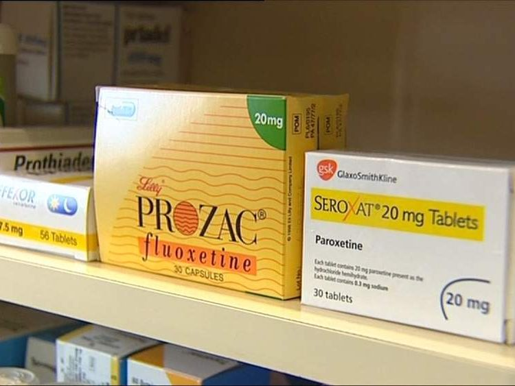 Prozac and Seroxat on a shelf.