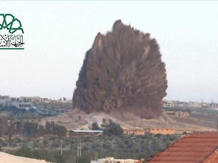 A massive underground explosion in Idlib, Syria