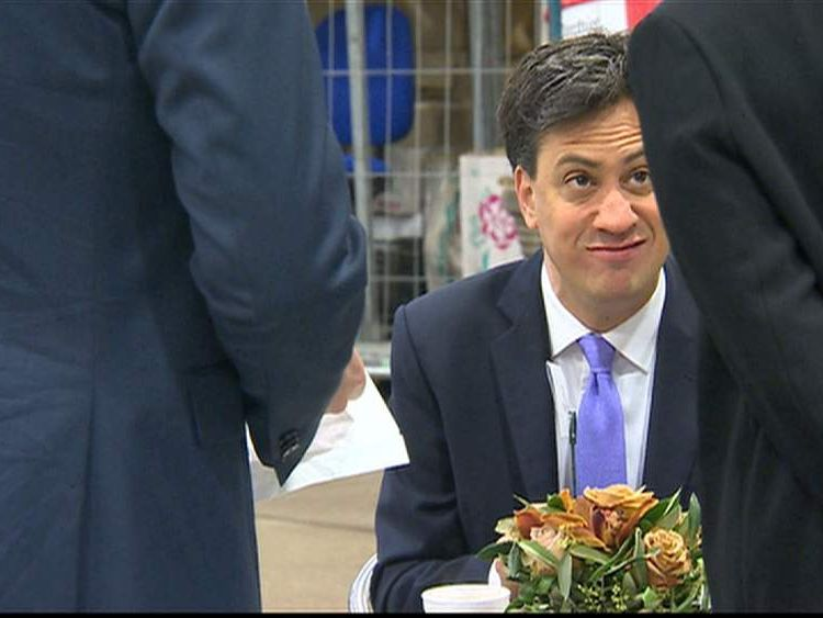Ed Miliband eats a bacon sandwich