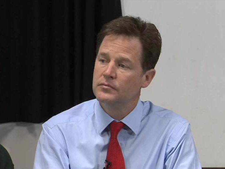 Glum-looking Nick Clegg the day after European elections disaster