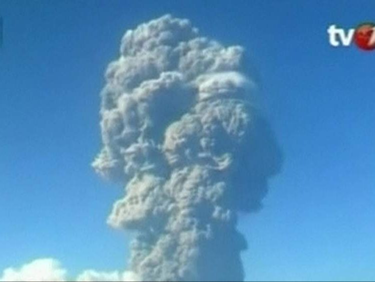 Ash cloud from volcanic eruption of Mount Sangeang Api