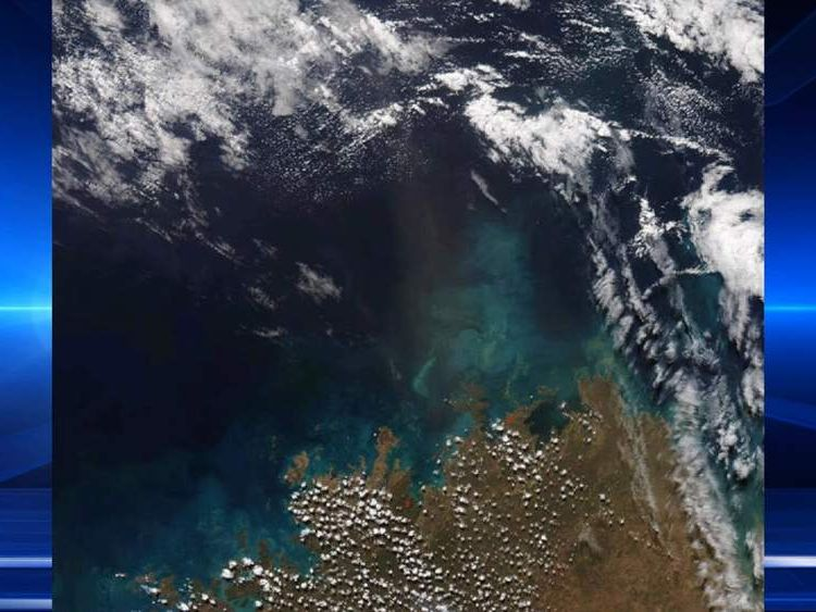 Ash cloud over northern Australia after volcanic eruption in Indonesia