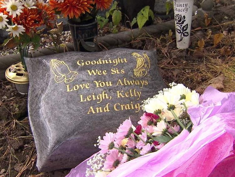 Grave of Stacey Muldoon, a 23-year-old mother from Lanarkshire, was killed in 2008 when the driver of the car taking her home from a night out crashed into a lamppost.