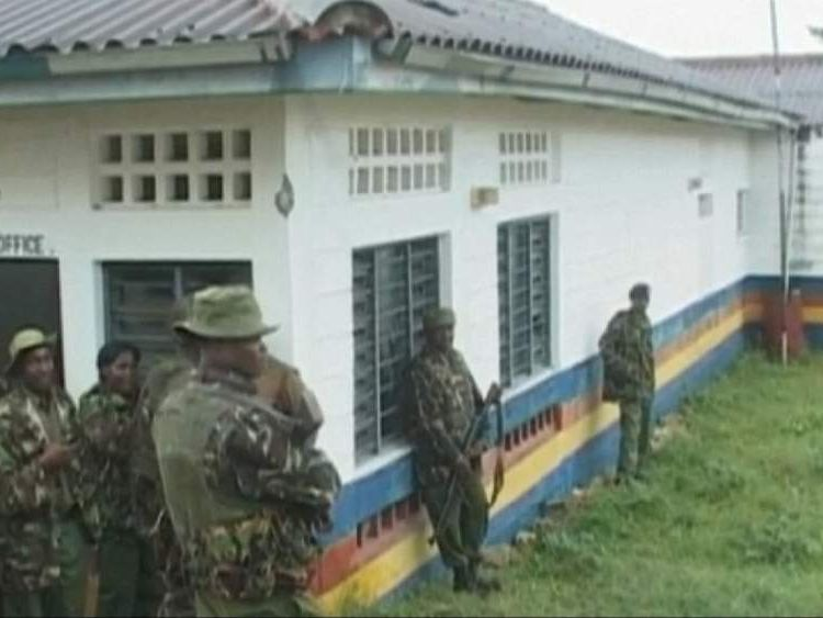 Security forces at the scene after an attack in Kenya