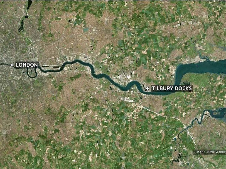 Map of Tilbury Docks