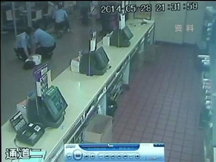 A suspect is held in the McDonalds restaurant