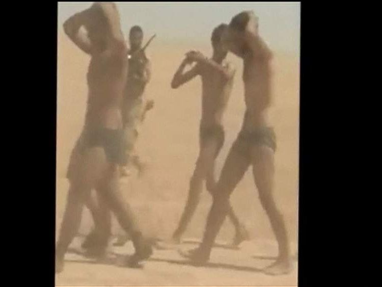 IS militants capture Syrian soldiers and force them to march in their underwear