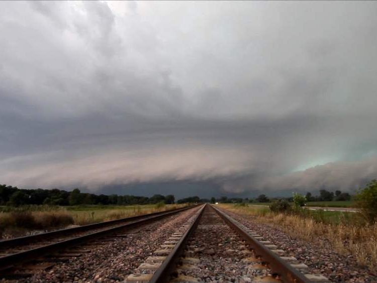 Supercell storm above Moscow, Iowa