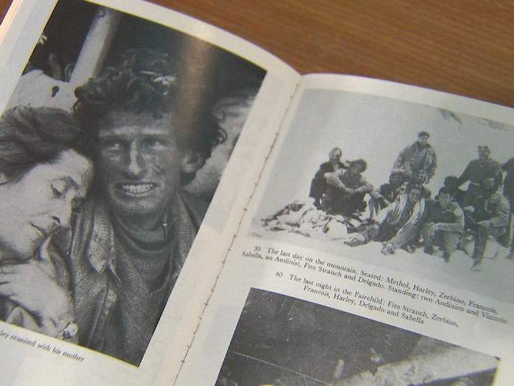 Book showing plane crash survivors