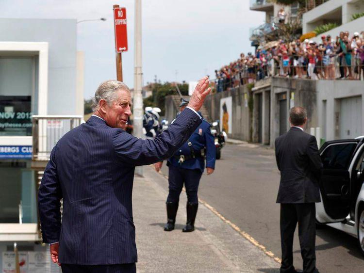 Prince Charles waves to crowds in Sydney, Australia