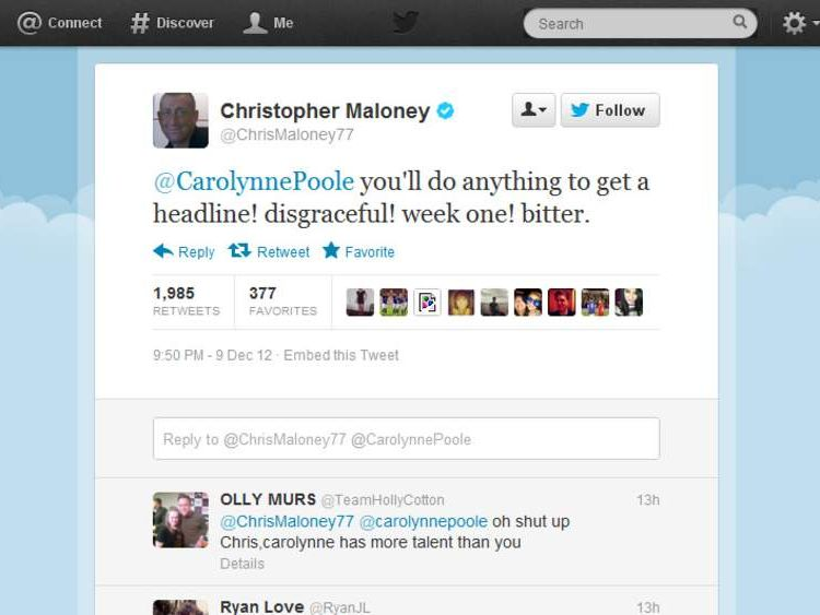 Tweet sent by X Factor contestant Christopher Maloney
