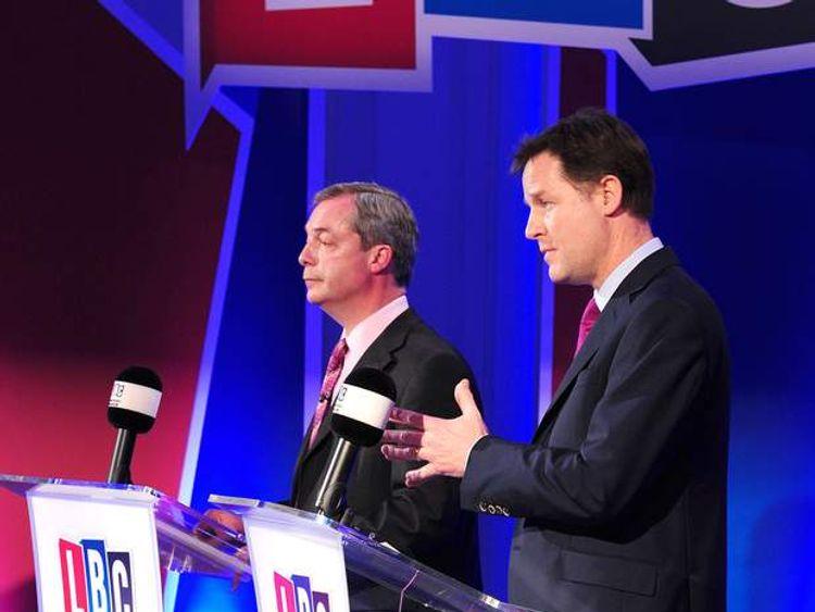 Nigel Farage (L) and Nick Clegg