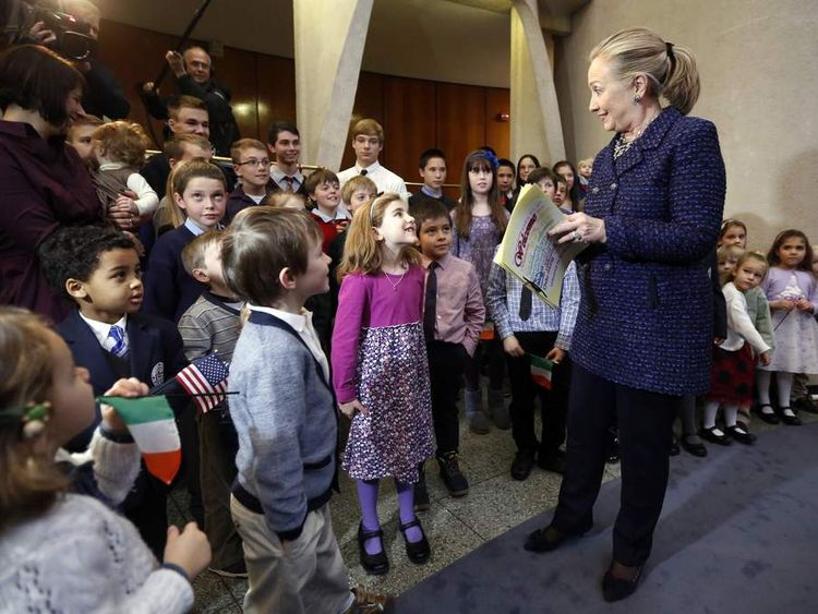 Hillary Clinton with children at Dublin's US Embassy