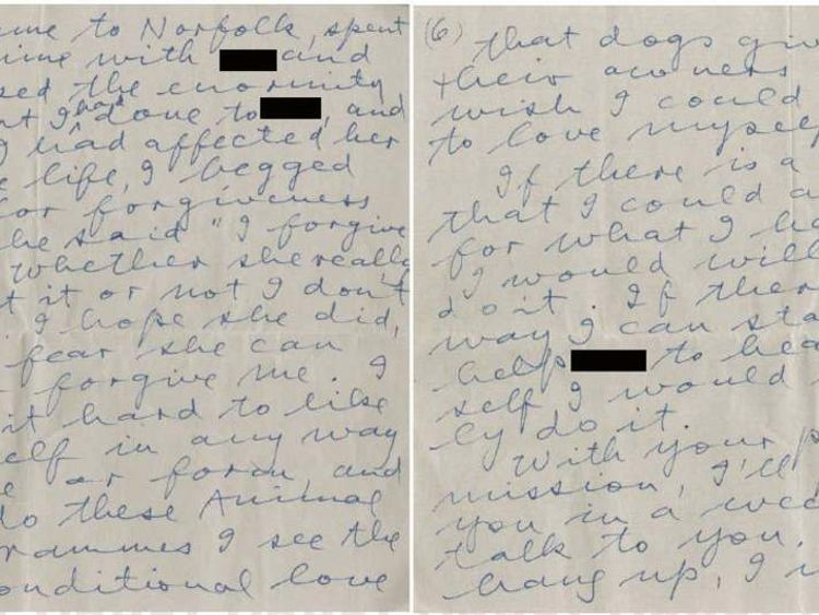 A letter sent by Rolf Harris to the father of one of his alleged victims