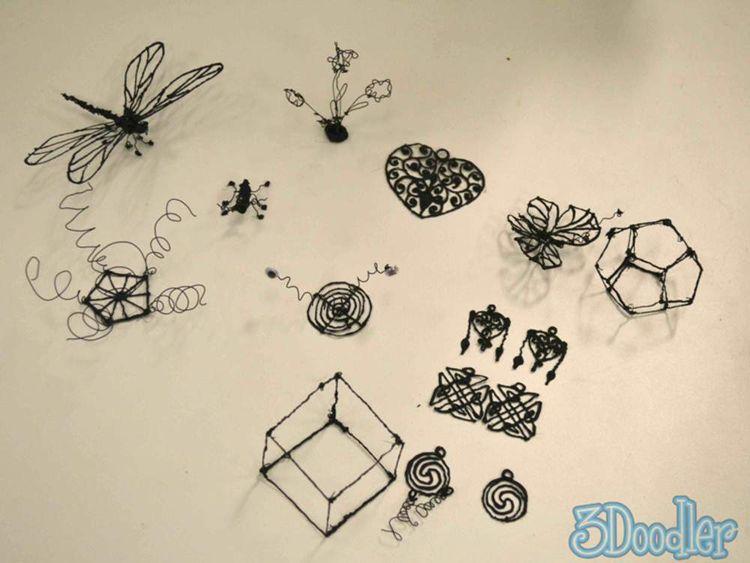 A collection of objects created with a 3Doodler pen