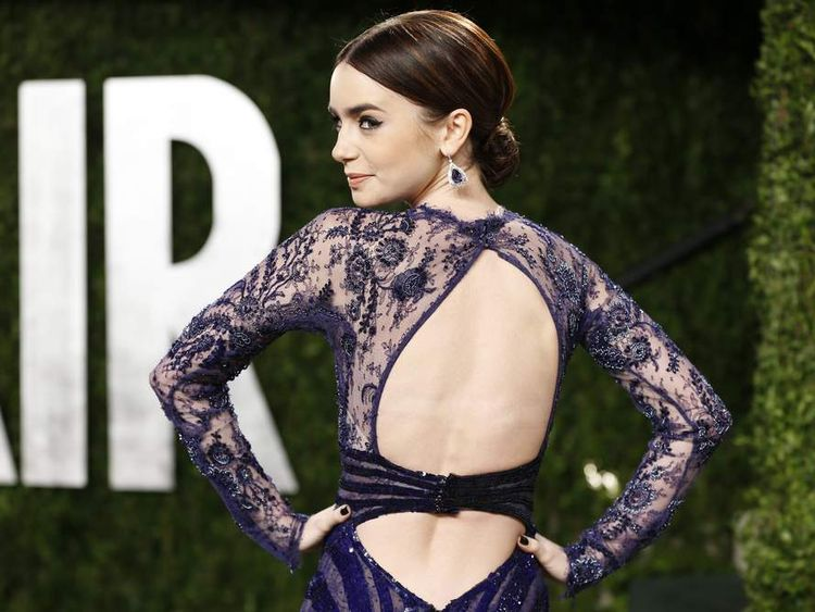 Actress Lily Collins at the 2013 Vanity Fair Oscars Party in West Hollywood