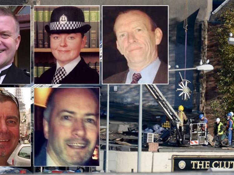 Clockwise from top left: PC Tony Collins, PC Kirsty Nelis, Samuel McGhee, Gary Arthur, David Traill