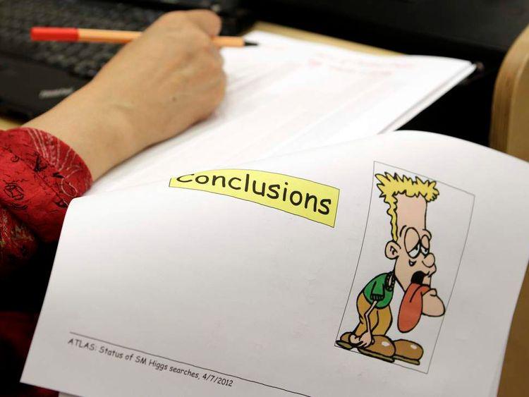 A participant at last page of Cern's Higgs boson presentation