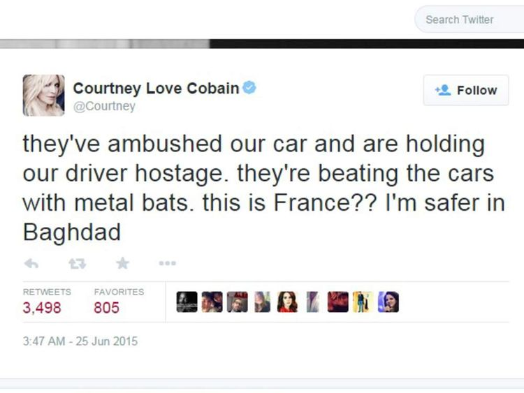Courtney Love was caught up in the anti-Uber protest. Pic: @Courtney.