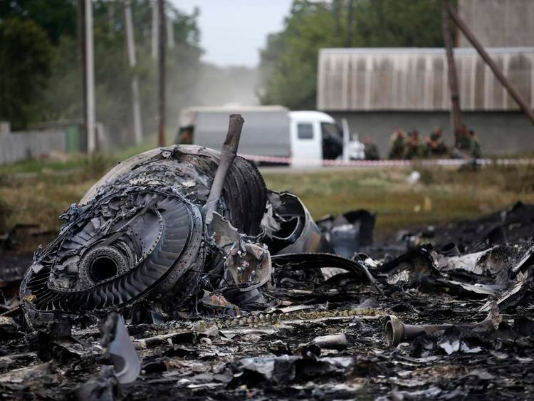 Debris is pictured at the site of the Malaysia Airlines Boeing 777 plane crash, near the village of Grabovo in the Donetsk region