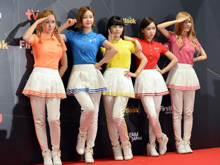"Members of South Korean K-Pop group ""CRAYON POP"""