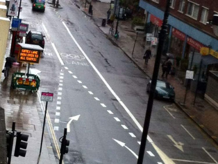 Confusing street markings near Russel Square in london as the Olympic lanes open. Picture Courtesy of www.LBC.co.uk