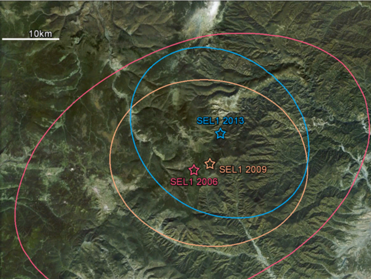 The CTBTO  seismic location epicentres for tests in 2006, 2009 and 2013