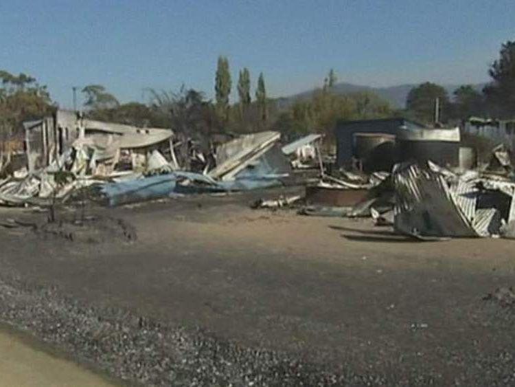 Dunalley, Tasmania, destroyed by wildfires.