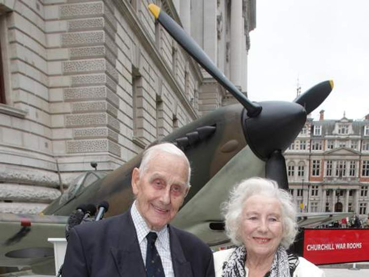 Dame Vera Lynn with veteran Battle of Britain pilot William Walker outside the Churchill War Rooms in central London.